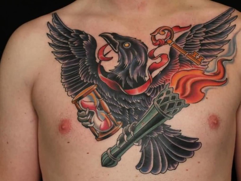 Fabulous Sandclock And Black Crow With Flaming Tattoo On Men's Chest