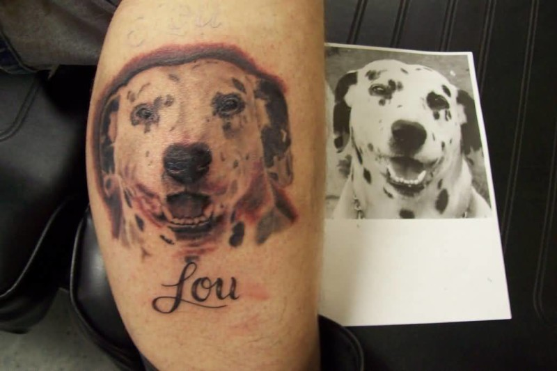 Famous Dalmatian Dog Head Tattoo Design With Lou Name Text