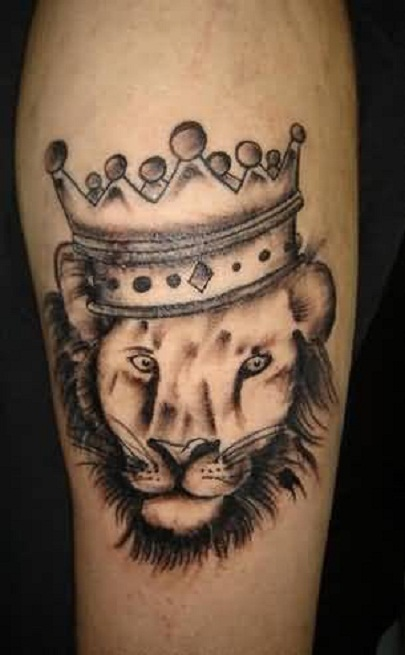 Famous King Lion Crown Tattoo Design Made By Artist