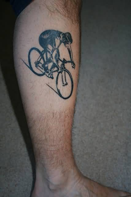 Famous Sportsmen Riding On Black Cycle Tattoo Design Make On Leg