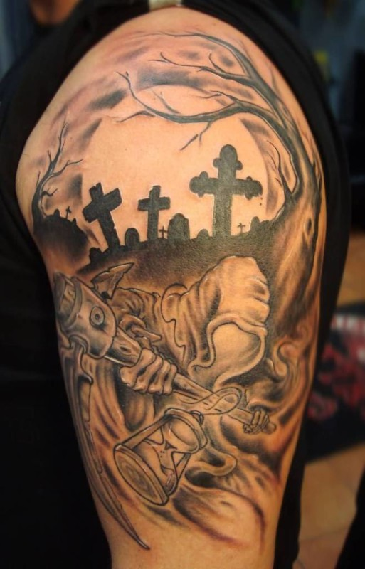 Fantastic 3 Black Cross And Amazing Death Grim Tattoo On Upper Sleeve For Handsome Men