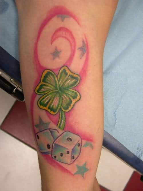 Fantastic 4 Leafs green Clover And Amazing Stars With Fabulous Dice Tattoo Design