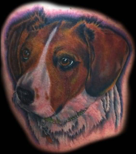 Fantastic Colorful Dog Face Tattoo Design