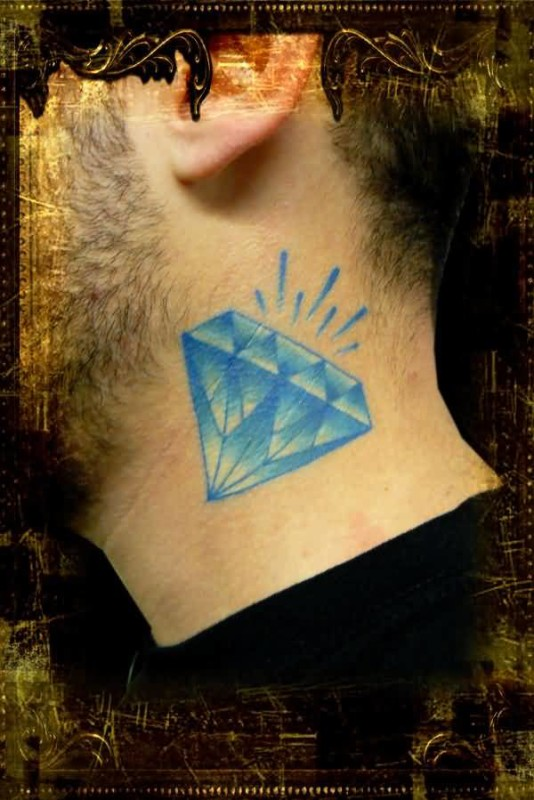 Fascinating Shining Blue Diamond Tattoo On Men's Side Neck