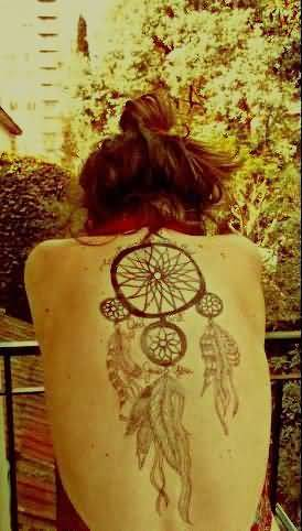 Full Back Cover Up With Classy Black Simple Dream Catcher Tattoo