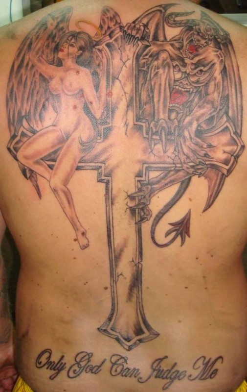 Full Back Cover Up With Outstanding Big Cross With Hot Girl And Scary Demon Design With Lovely Only God Can Judge Me Text Tattoo For Men