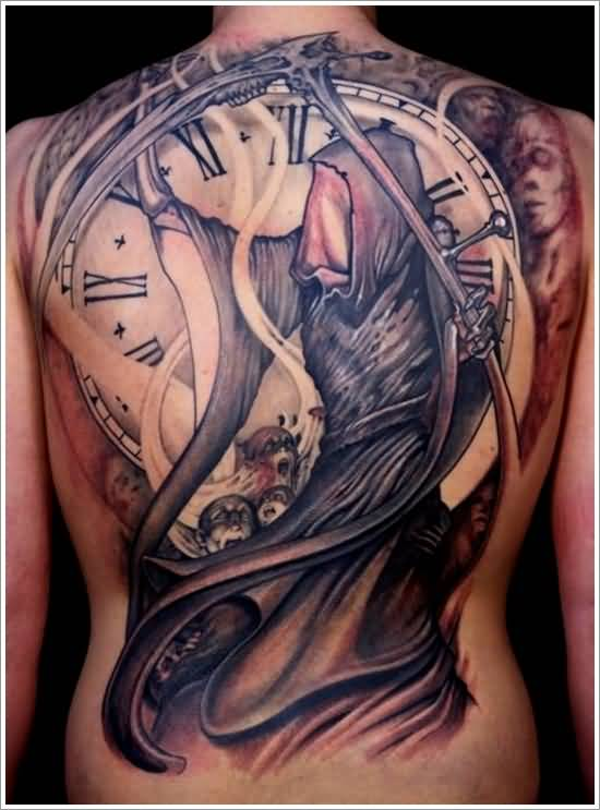 Full Back Decorated With Outstanding Clock And Amazing Death Skull Tattoo Made By Perfect Artist