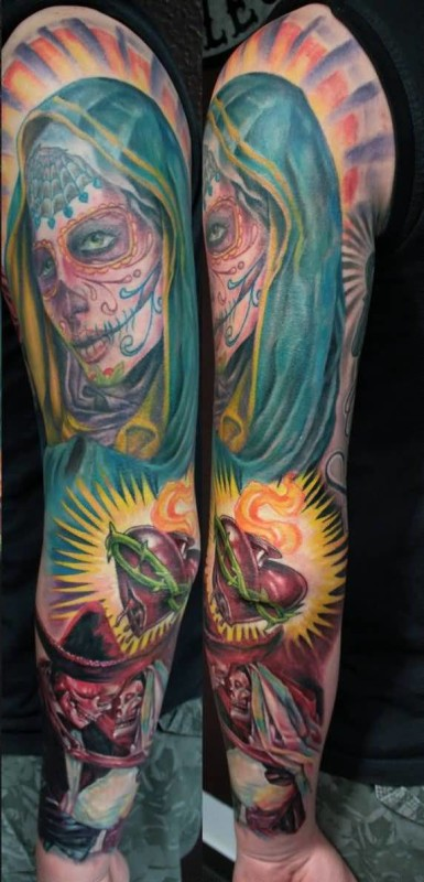 full sleeve cover up with outstanding dia de los muertos tattoo design for men. Black Bedroom Furniture Sets. Home Design Ideas