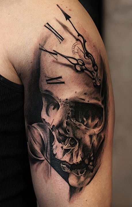 Full Sleeve Decorated With Ultimated Death Skull And Clock Tattoo For Handsome Men