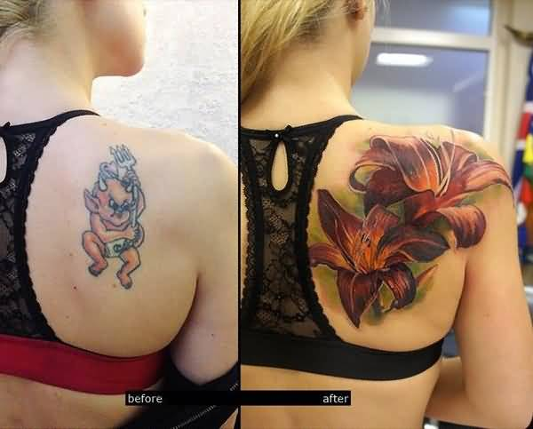 Funky Bear And Women Upper Back Cover Up With Realistic Flowers Tattoo Design