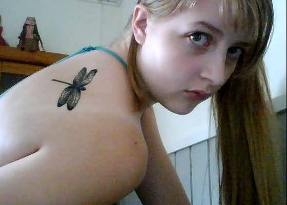 Funky Hot Women Upper Back Cover Up With Outstanding Dragonfly Tattoo
