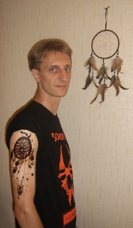 Funky Men Show Innovative Black InkDream Catcher Symbol Tattoo