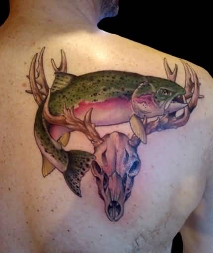 Funky Open Mouth Crazy Fish And Wonderful Deer Skull Tattoo Design Make On Upper Back