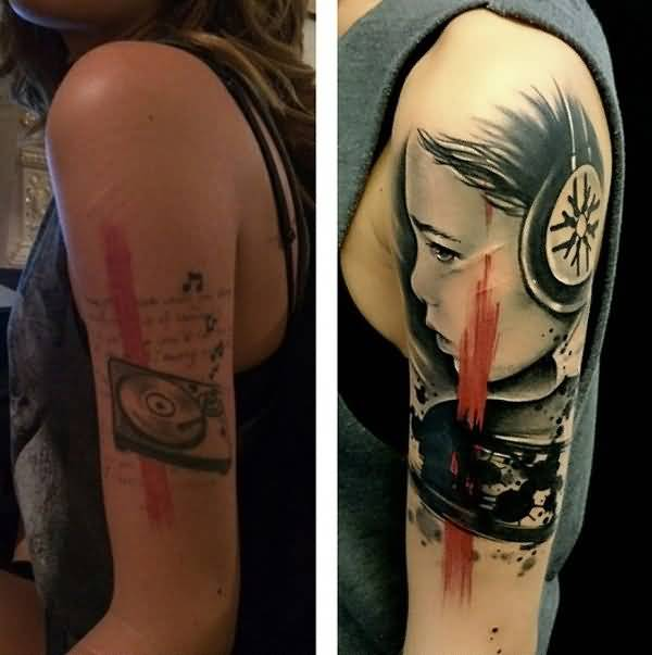 Funky Women Sleeve Cover Up With Old Disk And  Realistic Girl Face Tattoo