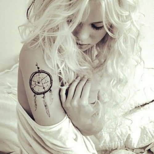 Funky Women Sleeve Decorated With Awesome Dream Catcher Symbol Tattoo