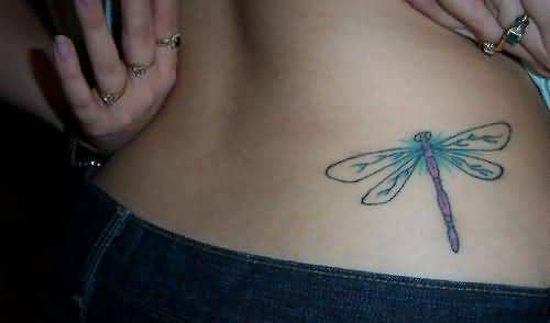 Great Looking Dragonfly Tattoo On Lower Back For Women