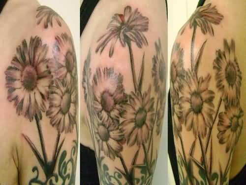 Half sleeve cover up with simple daisy tattoo design made for Daisy of love tattoo sleeve