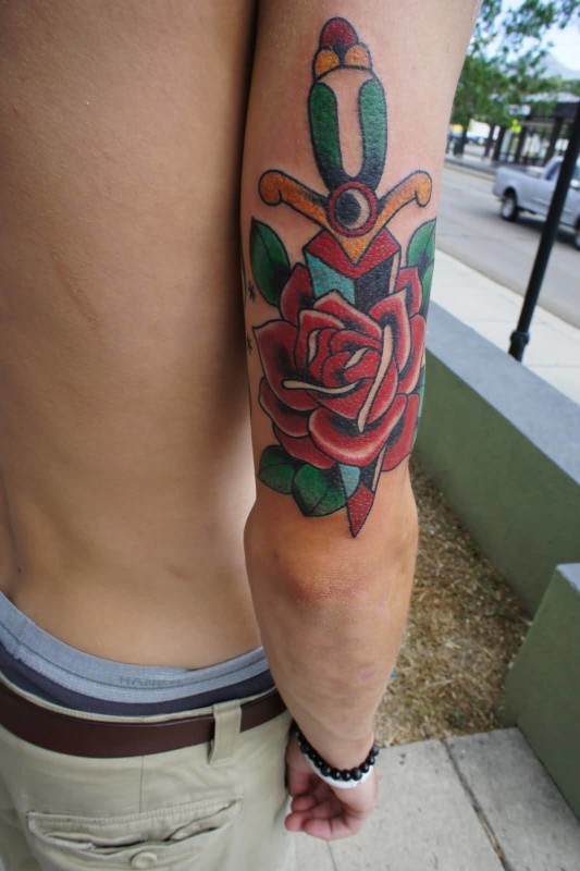Handsome Back Sleeve Cover Up With Stunning Red Flower Dagger Tattoo