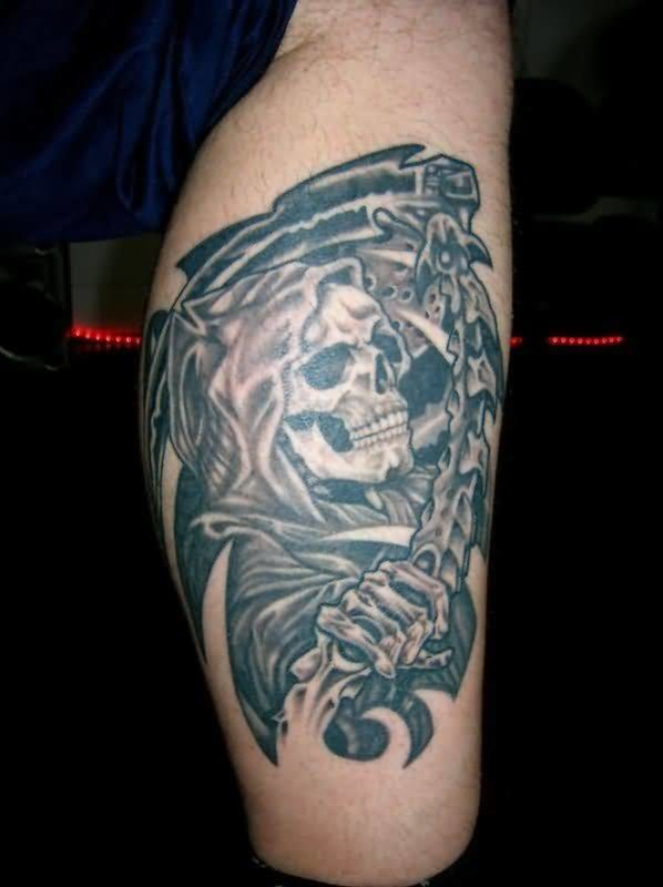 02bf0186d Handsome Cool Men Show Amazing Scary Death Skull Tattoo On Leg · Men Leg  Cover Up With Outstanding Big Horn Devil Face Tattoo