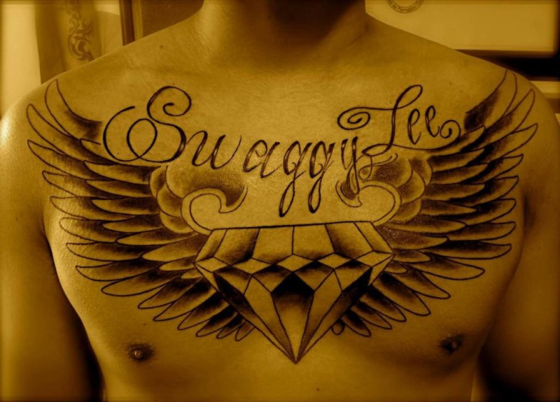 Handsome Cool Men Show Fabulous Wings Diamond Tattoo Design