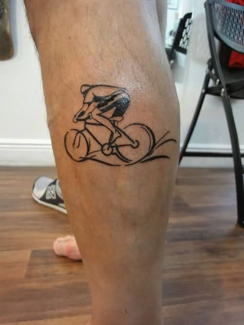 Handsome Cool Men Show Funky Guy Riding On Black Cycle Tattoo On Back Leg