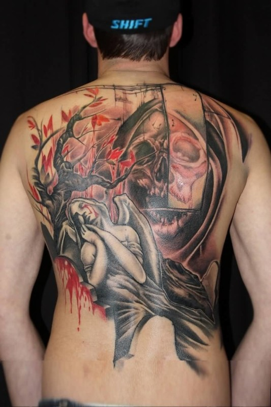 Handsome Cool Men Show Mind Blowing Sweet Angel And Hungry Death Skull Tattoo Design Make On Back