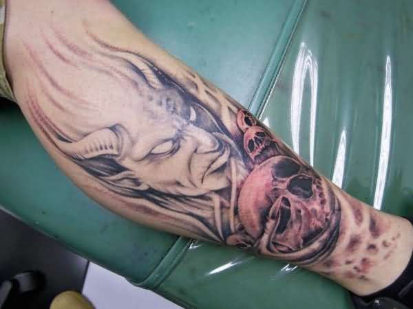 Handsome Cool Men Show Wonderful Big Horn Scary Devil Face Tattoo Design