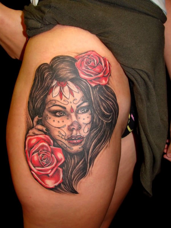 Hot Stylish Young Girl Show Fabulous Dia De Los Muertos Face Tattoo Design With Beautiful Red Rose