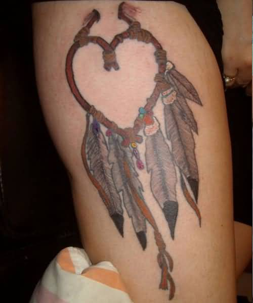 Impressive Heaert Shaped Dream Catcher Feather Tattoo
