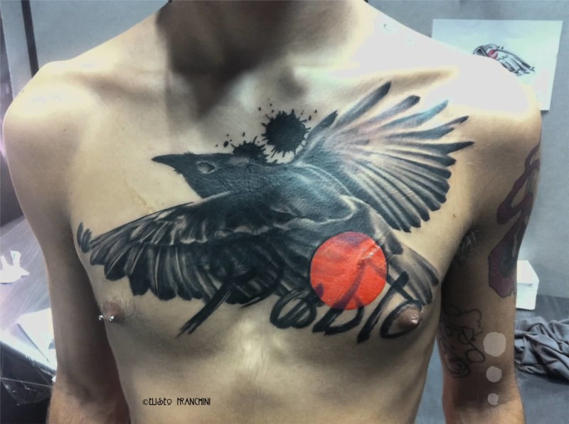 crow chest tattoo ideas and crow chest tattoo designs page 2. Black Bedroom Furniture Sets. Home Design Ideas