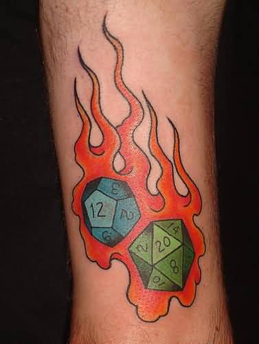 Incredible Flaming Dice Tattoo Design Picture