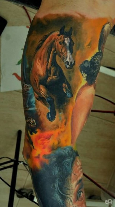 Incredible Sleeve Cover Up With Ultimate Watercolor Horse Tattoo For Handsome Cool Men