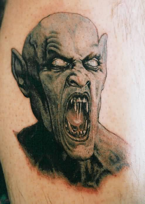 Innovative Angry Monster Demon Face Tattoo Image
