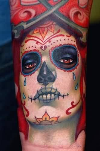 Innovative Lower Sleeve Decorated With Sad Crying Dia De Los Muertos Girl Face Tattoo For Men