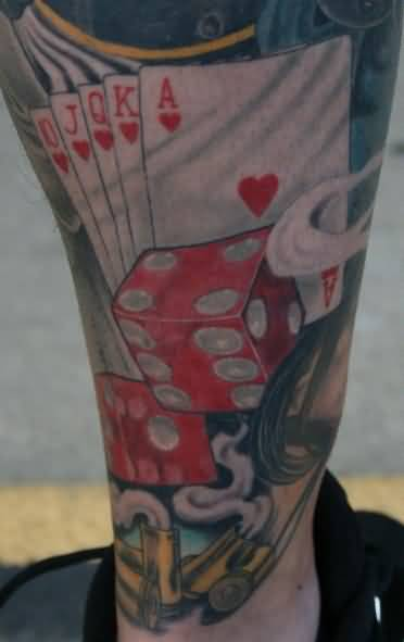 Innovative Red Dice And Stunning Cards Tattoo Made By Perfect Artist