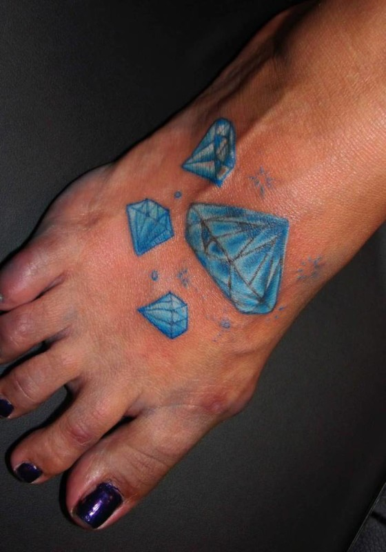 Latest Blue Diamonds Tattoo On Women's Foot