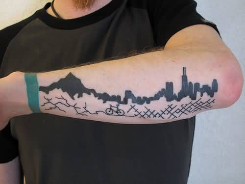 Latest City View And Simple Small Cycle Tattoo For Men's Sleeve