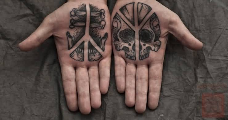 Latest Death Skull And Bones Tattoo On Both Palm For Men