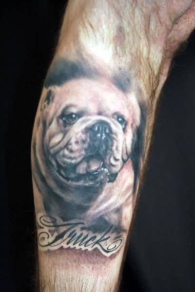 Latest Dog Face Tattoo Design With Simple Text