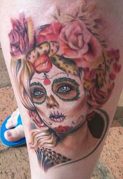 Latest Hot Dia De Los Muertos Girl Face Tattoo Design With Lovely Flowers