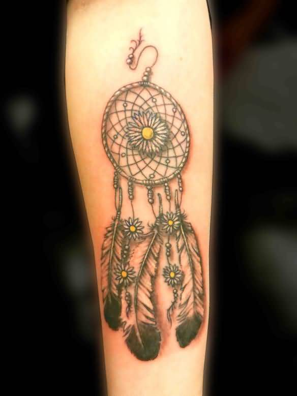 Latest Nice Dream Catcher Symbol Tattoo Design With Feather
