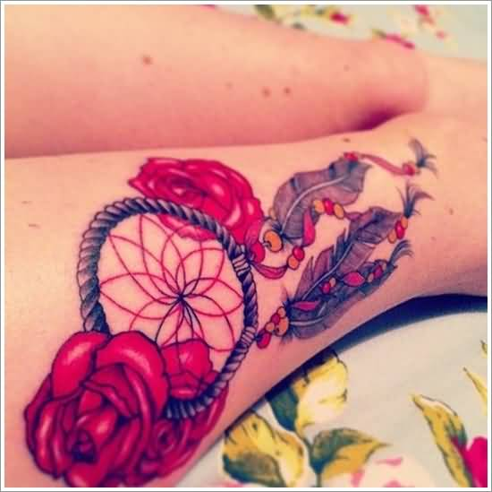 Latest Red Roses And Lovely Dream Catcher Symbol Tattoo