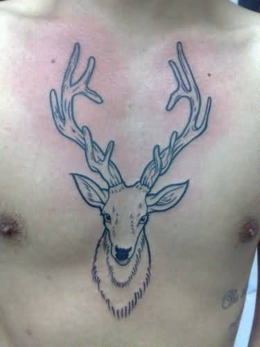 Latest Simple Deer Tattoo On Men's Chest