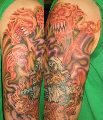 Demon sleeve tattoo ideas and demon sleeve tattoo designs for Demon half sleeve tattoos