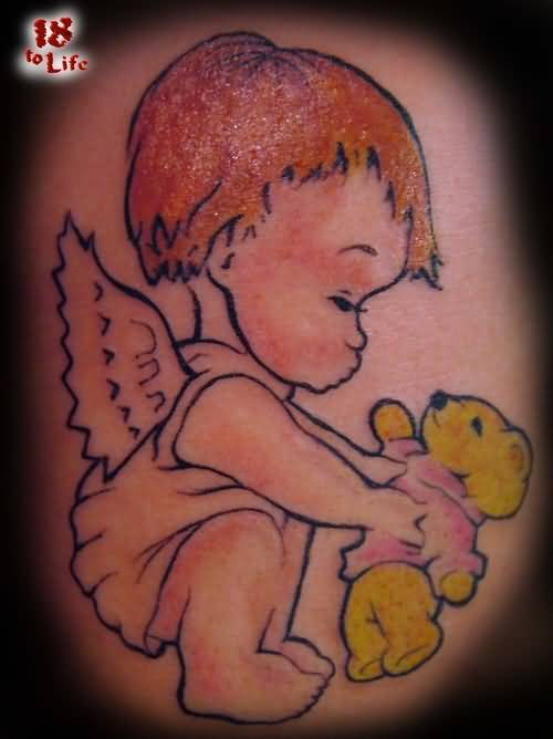 angel cupid cherub tattoo ideas and angel cupid cherub tattoo designs page 3. Black Bedroom Furniture Sets. Home Design Ideas