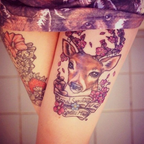 Lovely Beautiful Flowers And Sweet Deer Face With Amazing Banner Tatoo Design For Women's Thigh