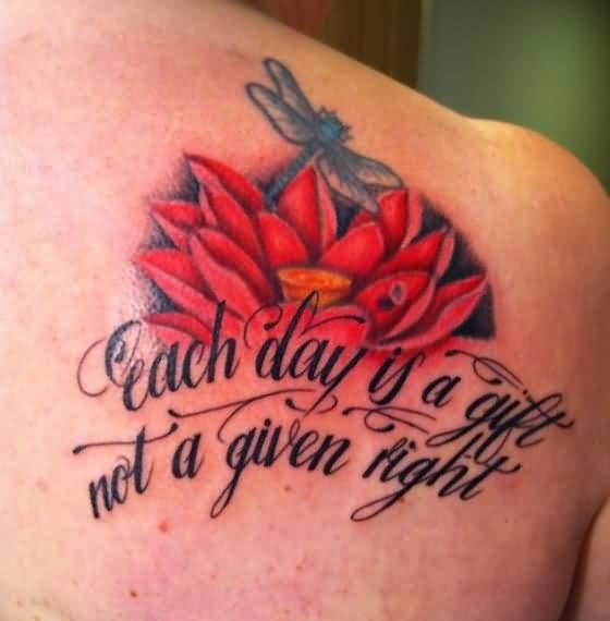 Lovely Beautiful Red Flower And Amazing Dragonfly Tattoo On Upper Back Decorated With Nice Wording