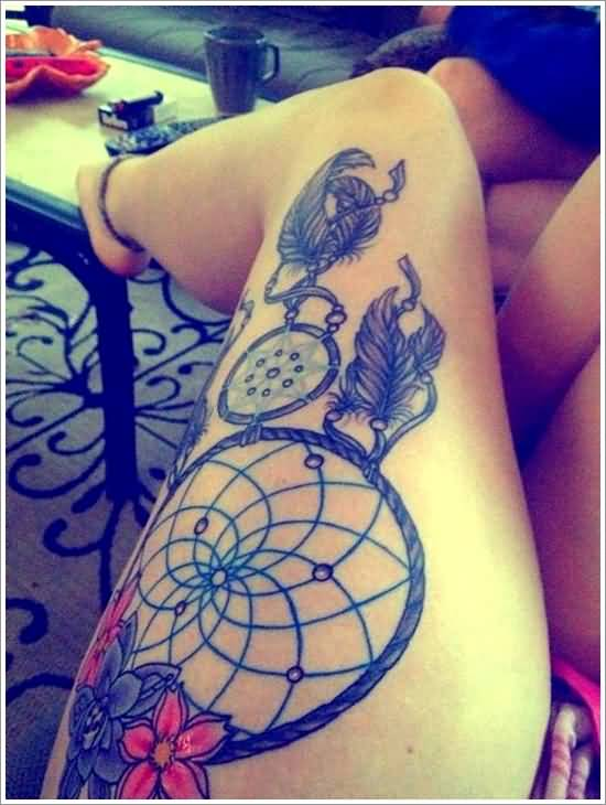Lovely Colorful Flowers And Nice Dream Catcher Feather Tattoo Design For Women's Thigh
