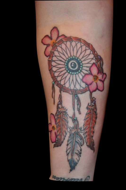 Lovely Flowers And Simple Colorful Feather Dream Catcher Tattoo