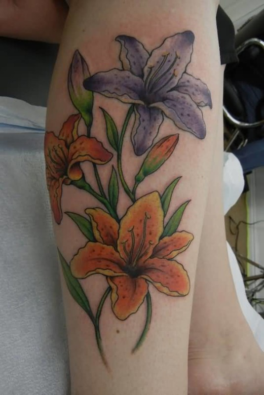 lovely flowers tattoo design made by colorful ink. Black Bedroom Furniture Sets. Home Design Ideas